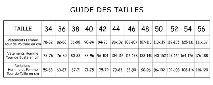 a2f838897ed973 Guide des tailles et conseils d'entretien