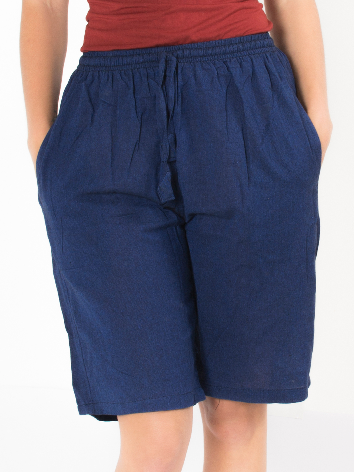 Short ethnique bleu marine uni simple