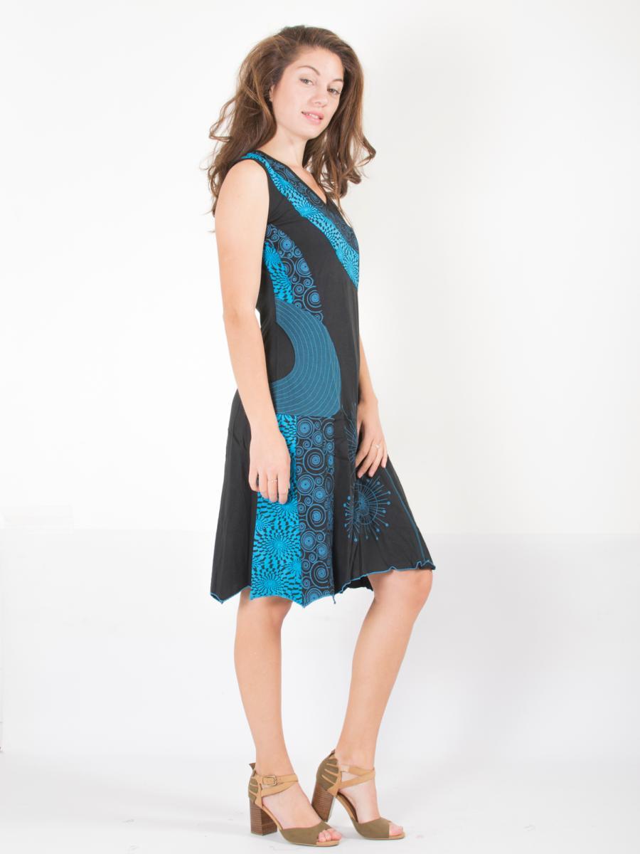 Aux Turquoise Psychédéliques Noire Bleu Motifs Et Robe BCdxWroe