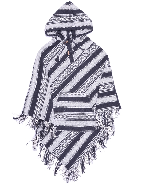 Poncho noir et gris pointu traditionnel