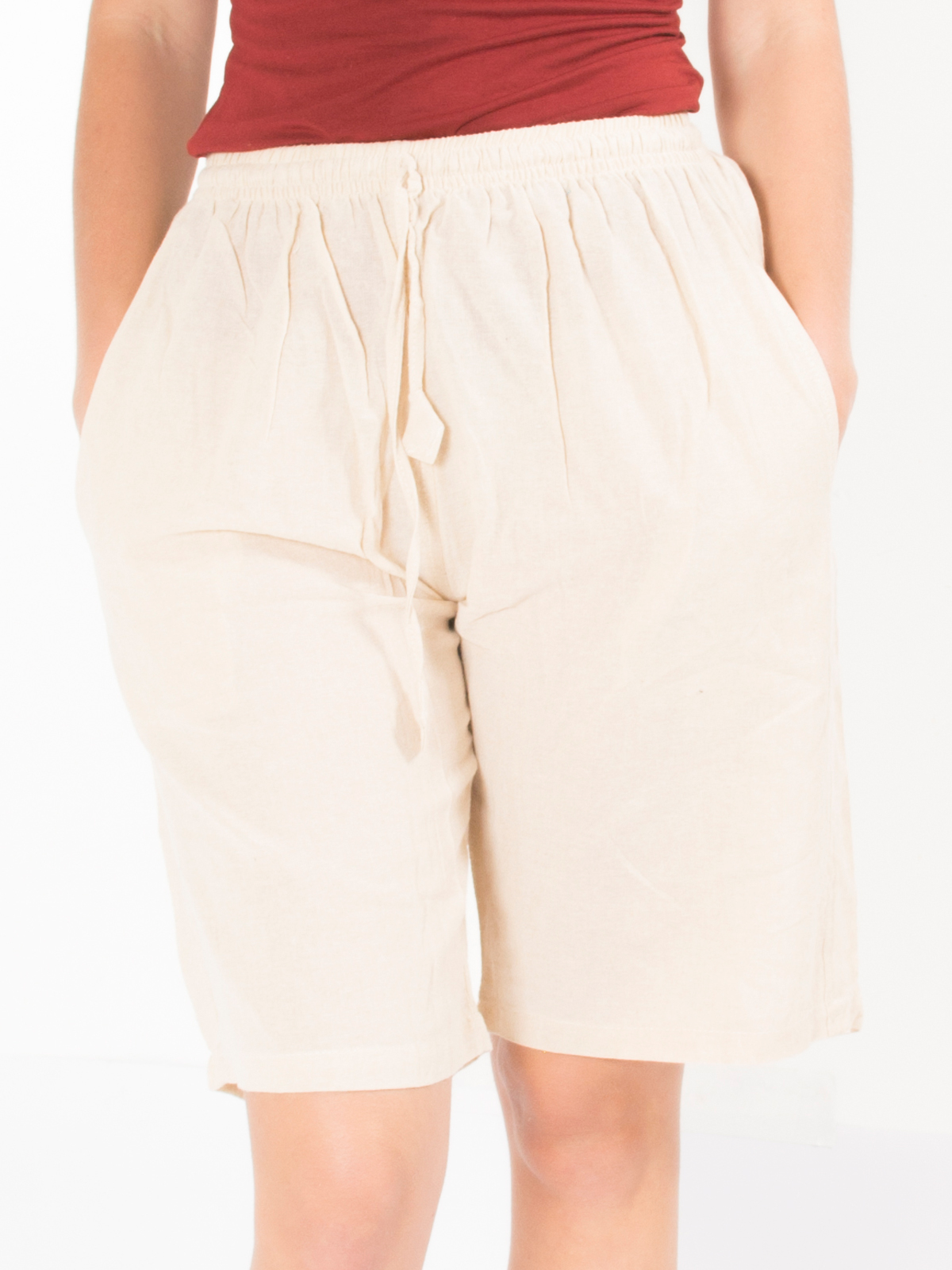 Short ethnique beige uni simple