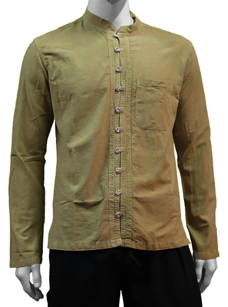 Chemise beige manches longues col mao