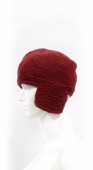 Bonnet ski laine bordeaux