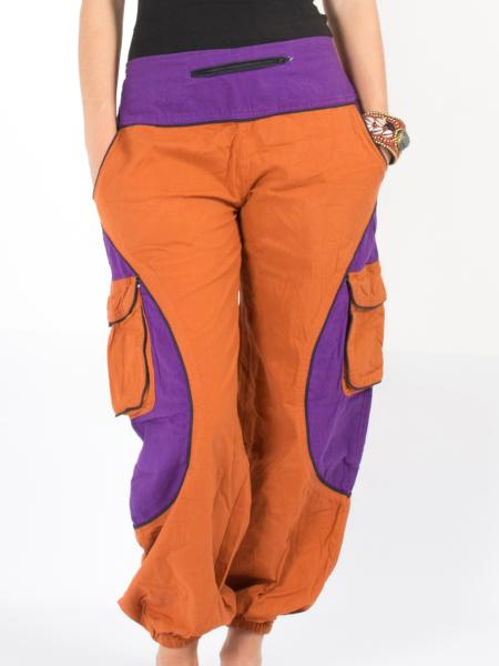 Pantalon bouffant orange et violet