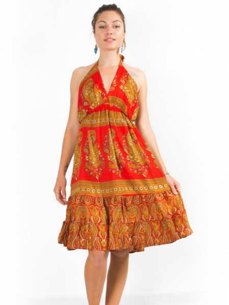 Robe dos nu en soie vegan à motif paisley coloré rouge et orange