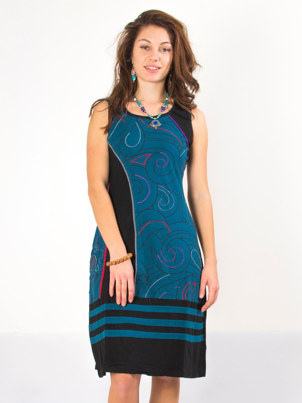 5a2dc31ce99 Robe bleu pétrole élégante motif ...