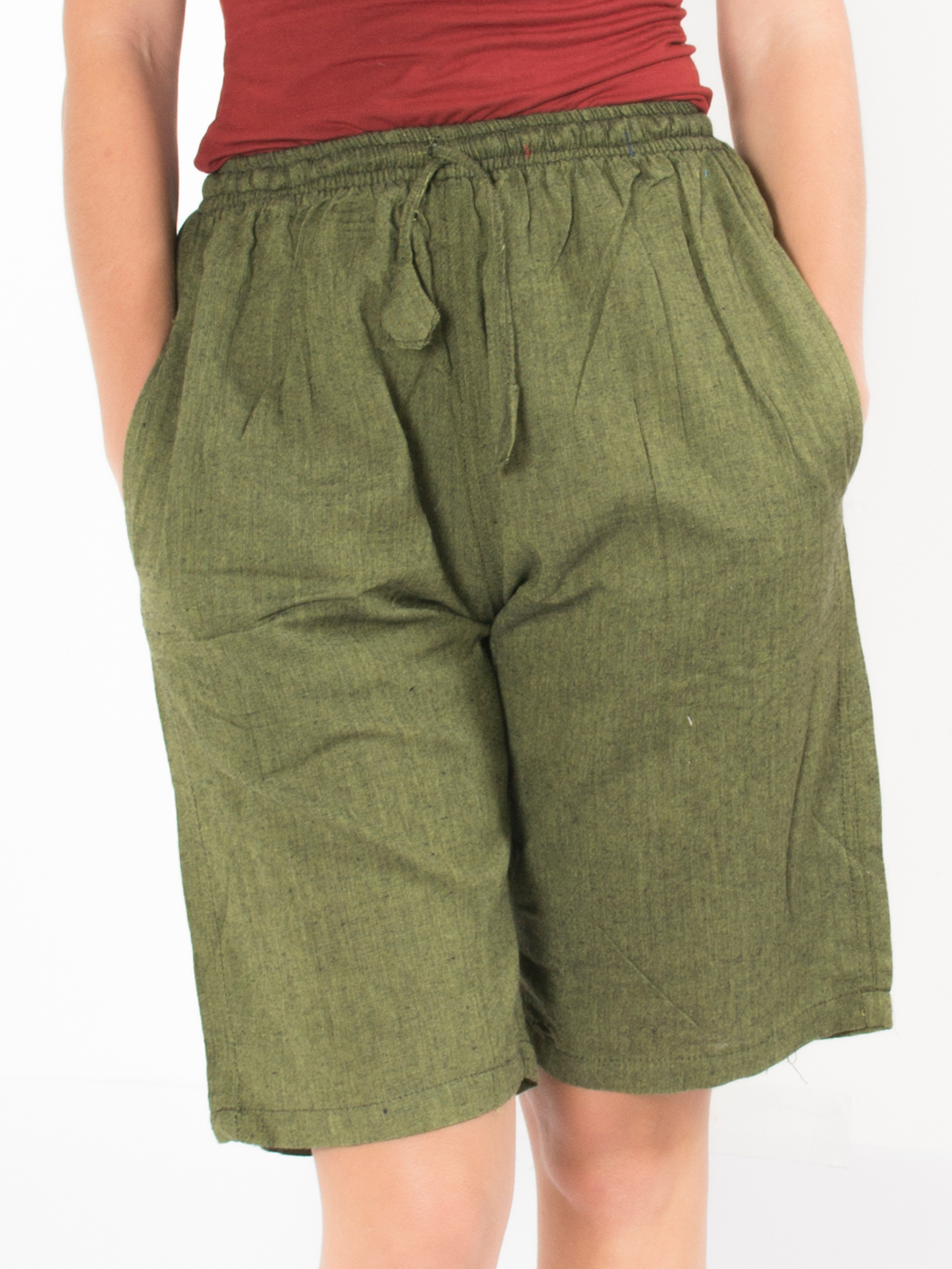 Short ethnique vert kaki uni simple
