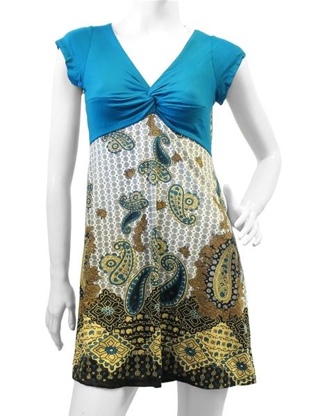 56a62e907ab Robe bleu pétrole avec motif floral et paisley
