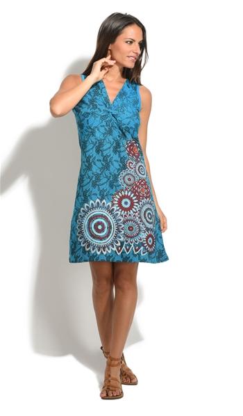 713fd3fe770 Robe bleu grande taille alvéole ethnique coton népal