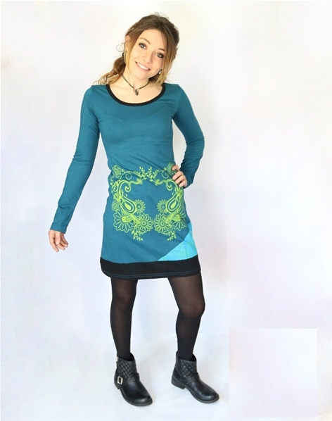 Robe courte manches longues paisley