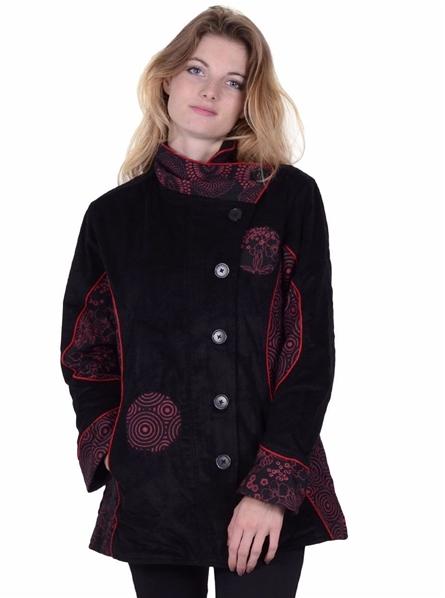 mignonne officiel de vente chaude mode de premier ordre Manteau en velours noir rouge doublé polaire