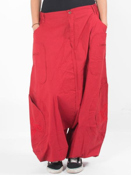 Pantalon sarouel ultra ample rouge uni à motif celtique