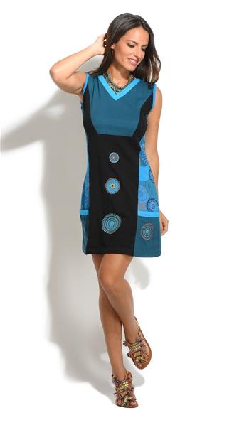 Robe Noir Et Bleue Originale Style Ethnique Mode Femme