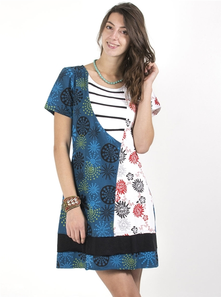 416da3e4c8c Robe style marin col rayure et motif imprimé