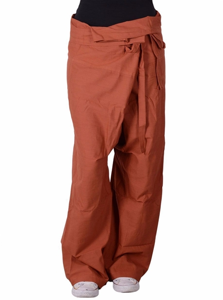 Pantalon yoga thaï orange avec pochette de transport