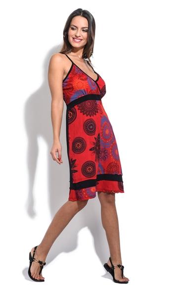 3da6e6d4549 robe courte bretelles rouge coton népal cache coeur été cool
