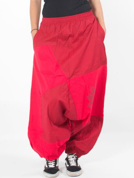 Pantalon sarouel bien ample patchwork rouge motif tribal