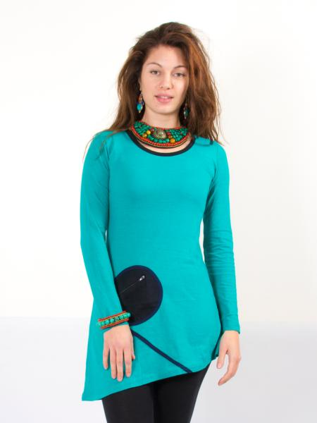 Robe courte turquoise à manches longues