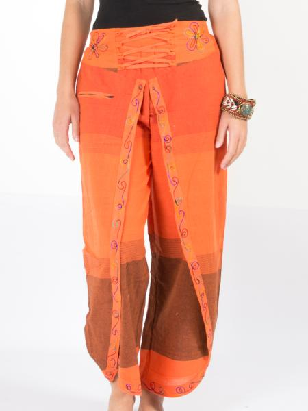 Pantalon bouffant portefeuille orange