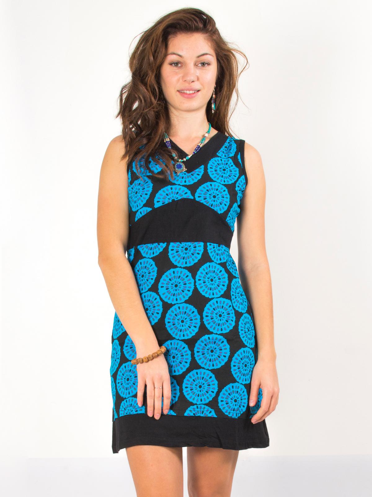 58ff154122e Robe noire motif parasol thaï bleu