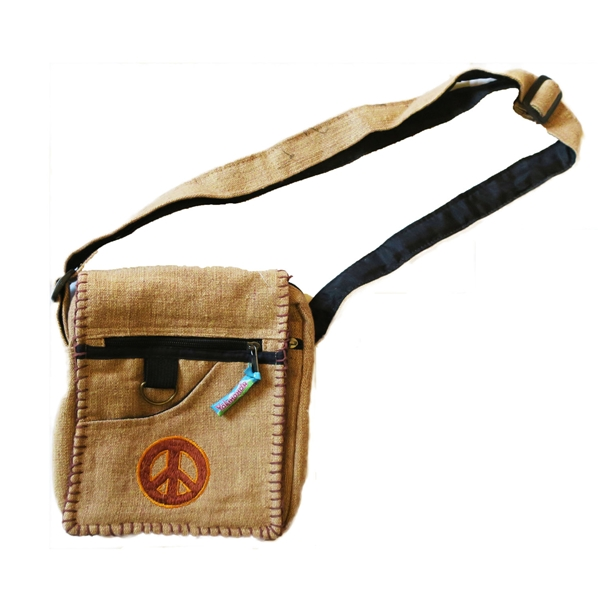 Sac à bandoulière beige brodé peace and love