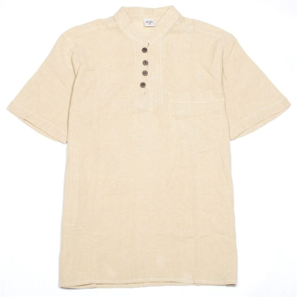 Chemise manches courtes beige