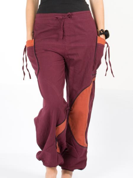 Pantalon bouffant bordeaux et orange