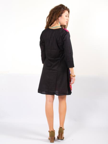 Robe Noire Au Motif Ethnique Colore Mode Femme